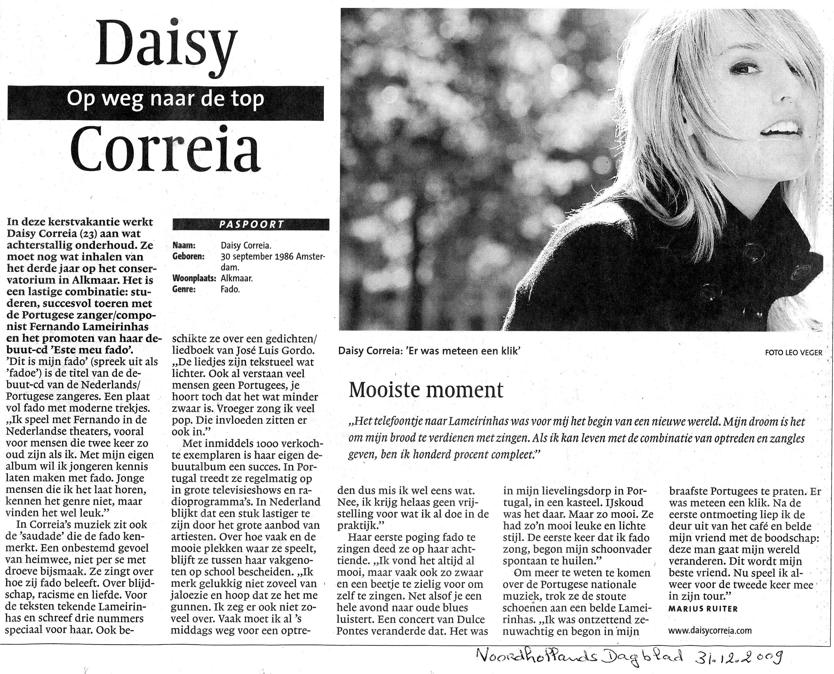 2009-12-31 Artikel over Daisy in NH Dagblad a